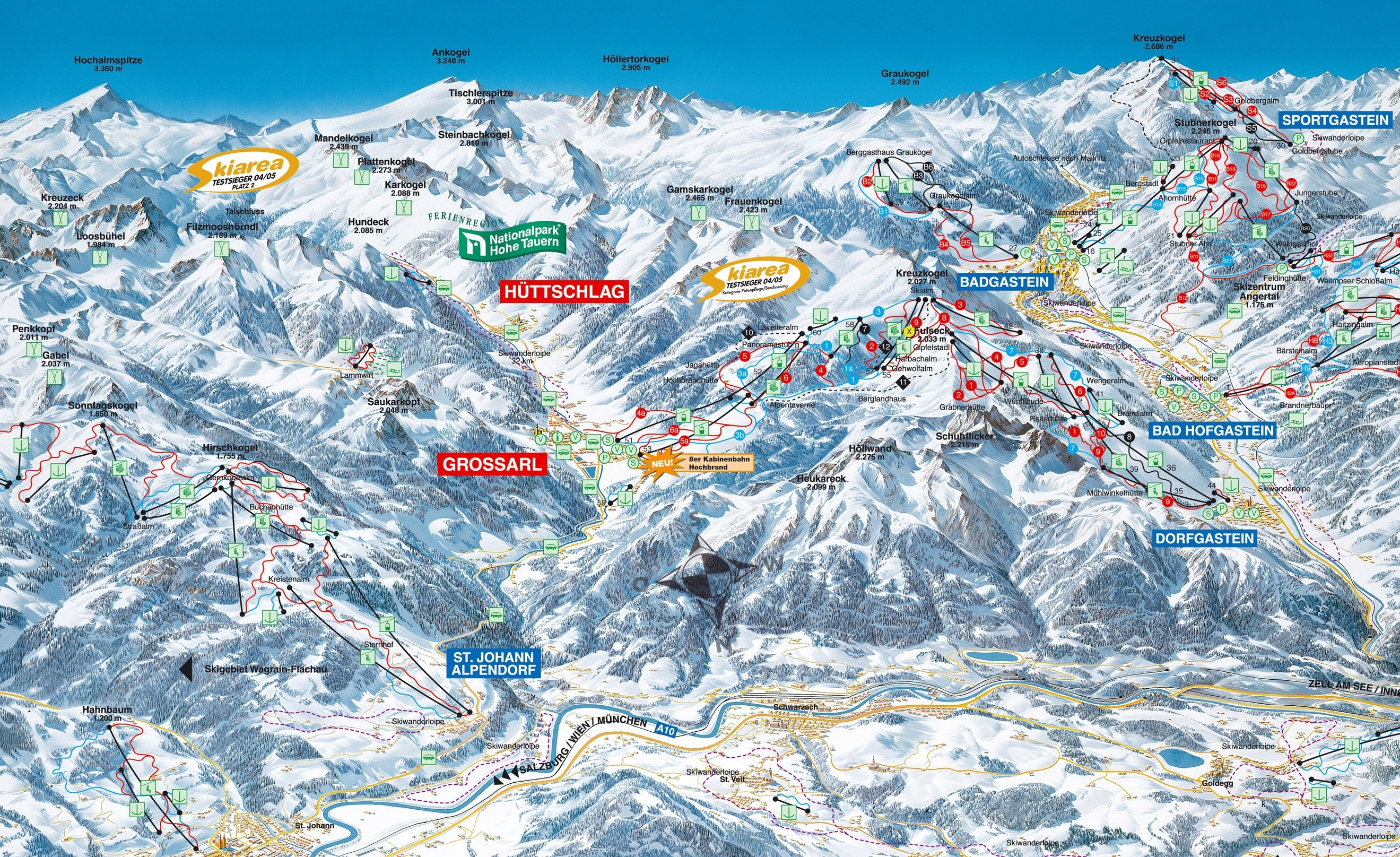 h ttschlag salzburger land skigebiet gro arltal dorfgastein skigebiet pistenplan piste. Black Bedroom Furniture Sets. Home Design Ideas