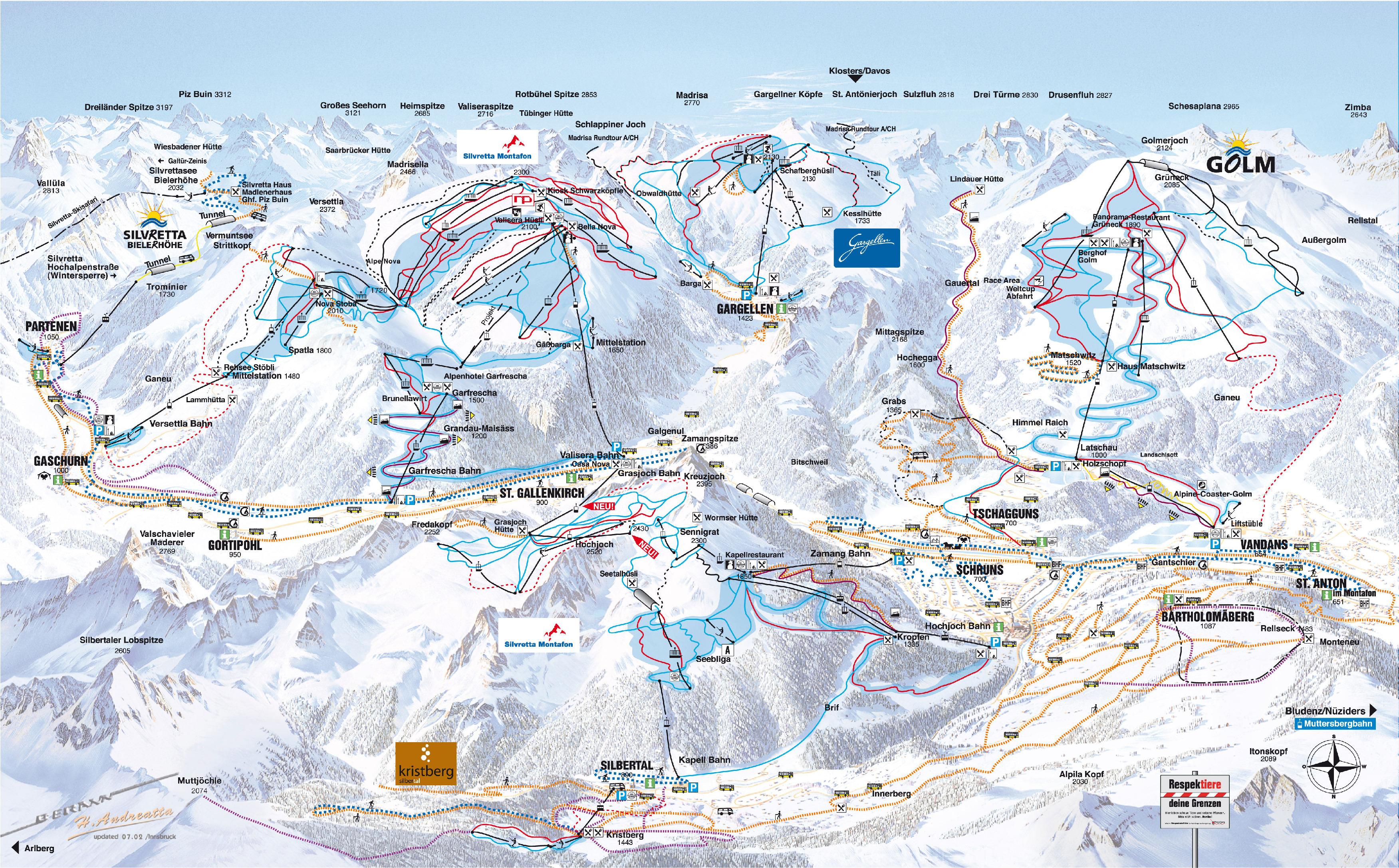 Skigebiet Schruns Vorarlberg Pistenplan Skipasspreise Pisten