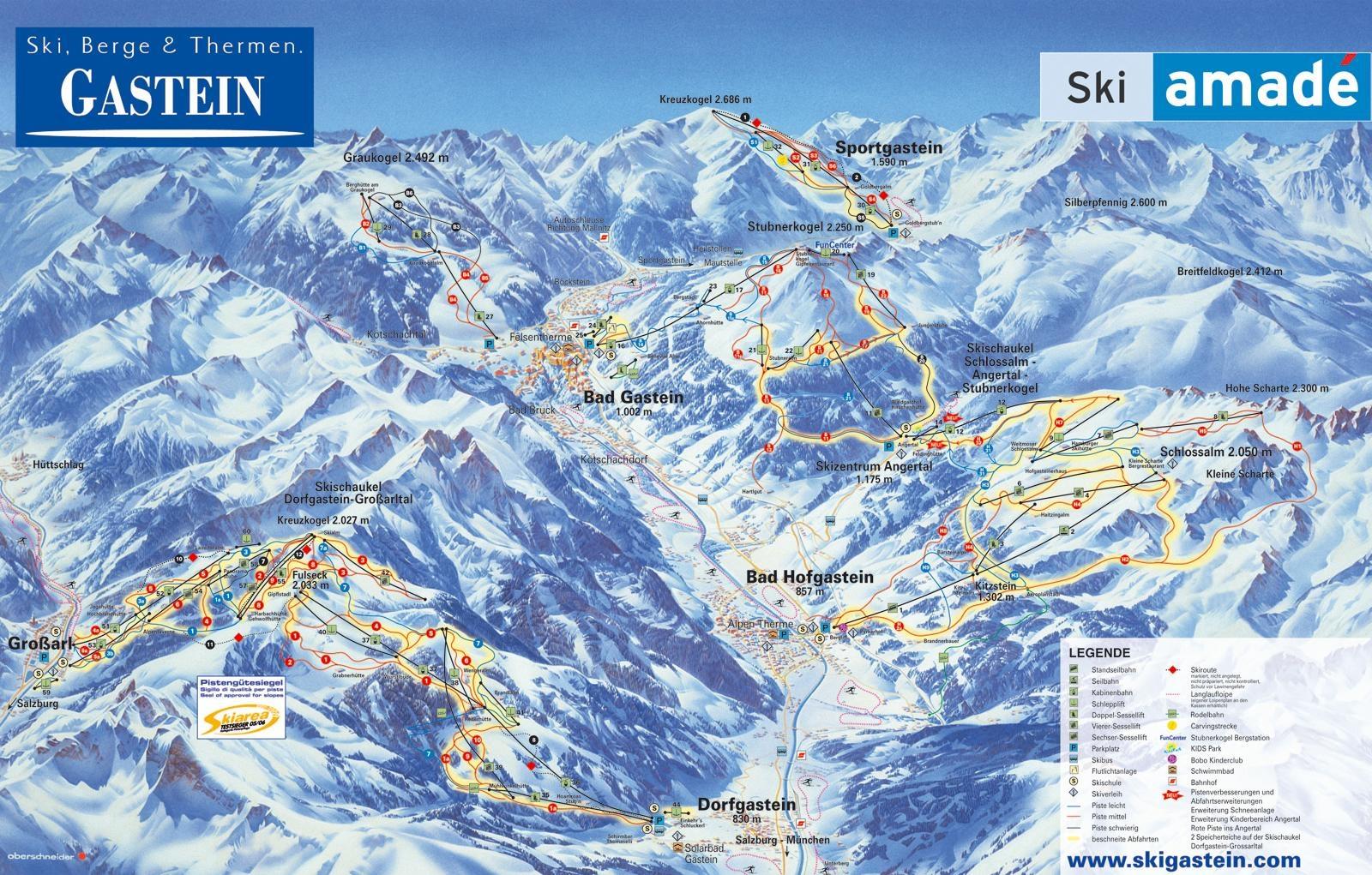Skigebiet Gasteinertal, Piste, Skipasspreise, Pistenplan