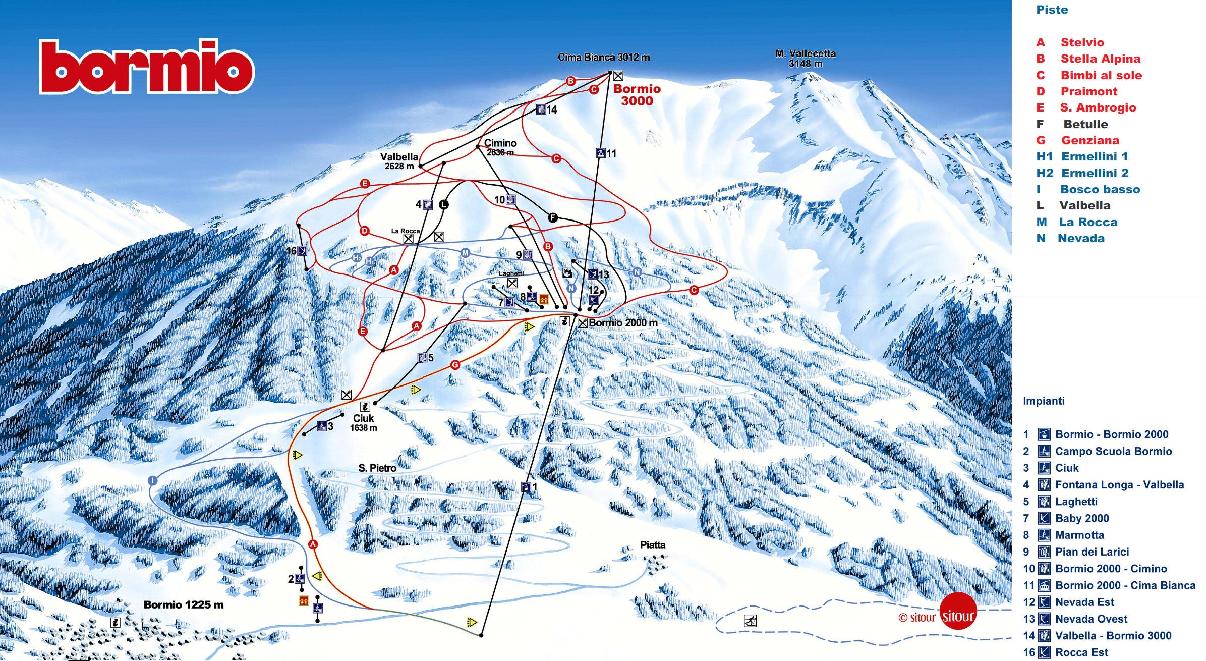 Bormio Italy  city photo : Bormio Lombardei, Skigebiet Bormio, Ski map, Slopes, Cross country ski ...